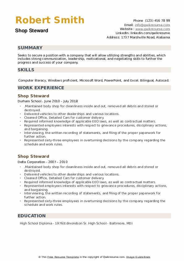 Shop Steward Resume example