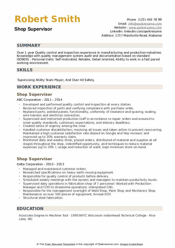 Shop Supervisor Resume example