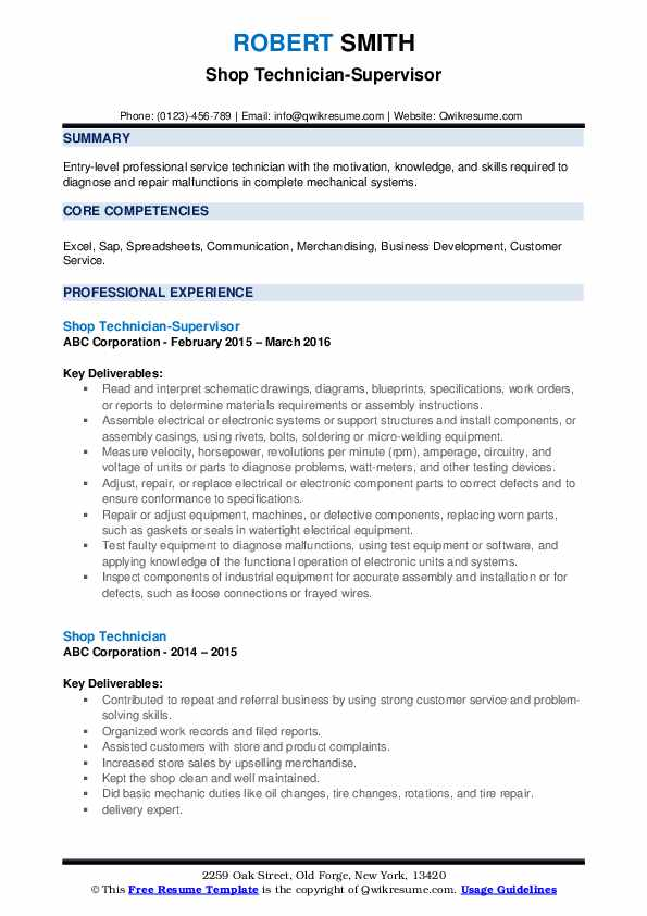 Shop Technician-Supervisor Resume Format