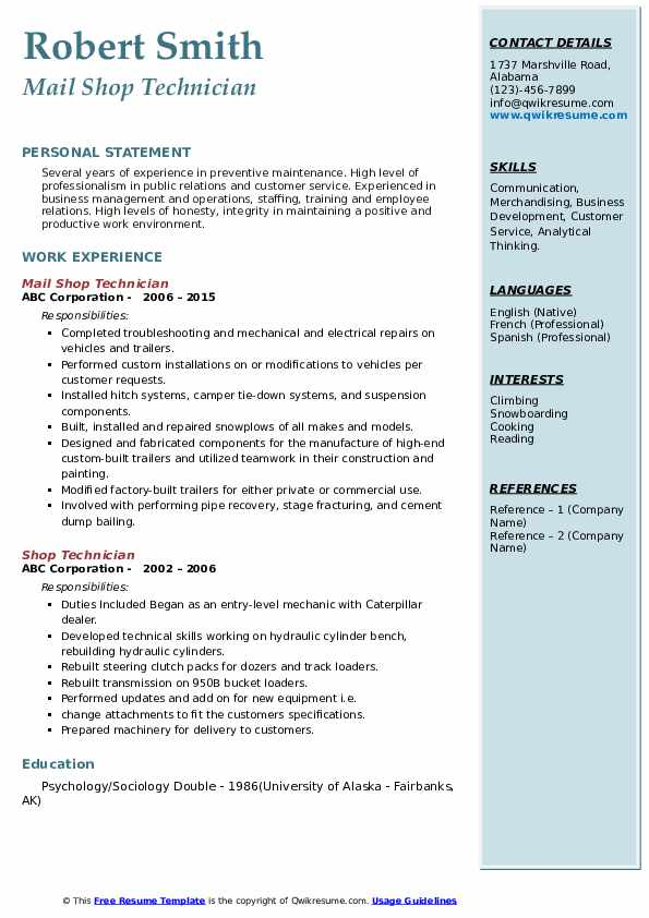 Mail Shop Technician Resume Model