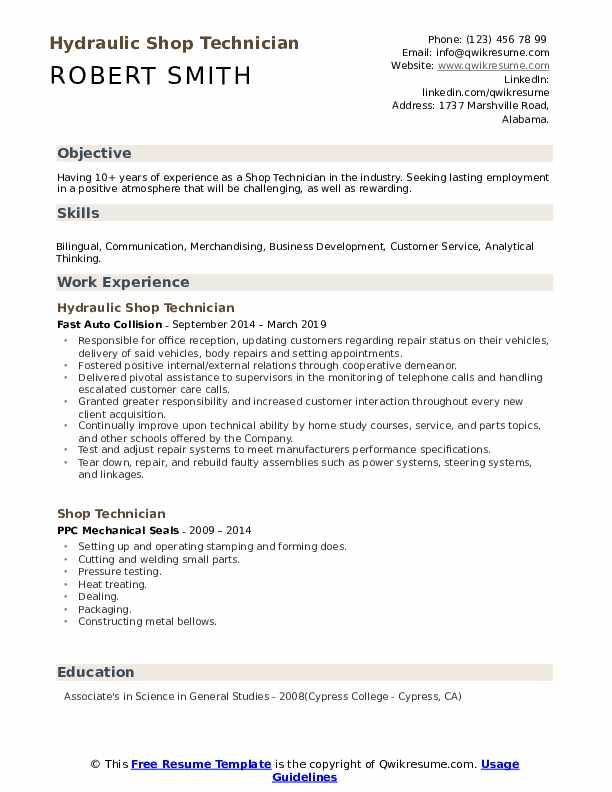 Hydraulic Shop Technician Resume Example