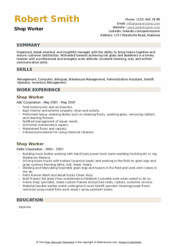 Shop Worker Resume example