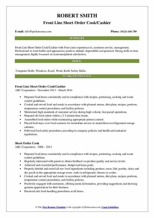 Front Line Short Order Cook/Cashier Resume Example