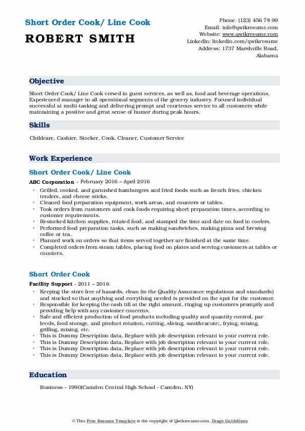 Short Order Cook/ Line Cook Resume Sample