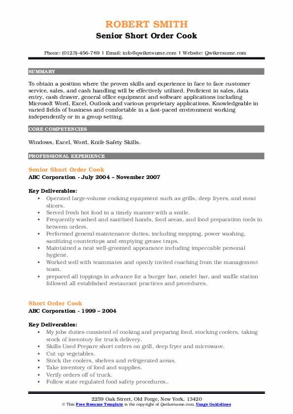 Senior Short Order Cook Resume Format