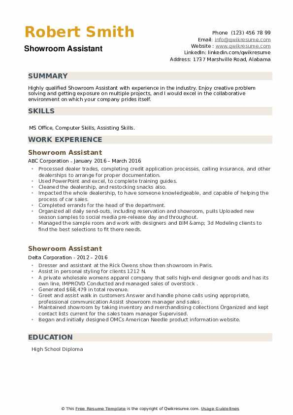 Showroom Assistant Resume example