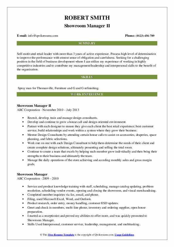 Showroom Manager II Resume Model