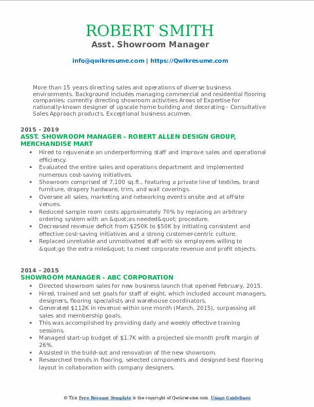 Asst. Showroom Manager Resume Example