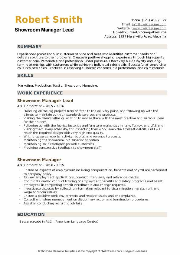 Showroom Manager Lead Resume Example