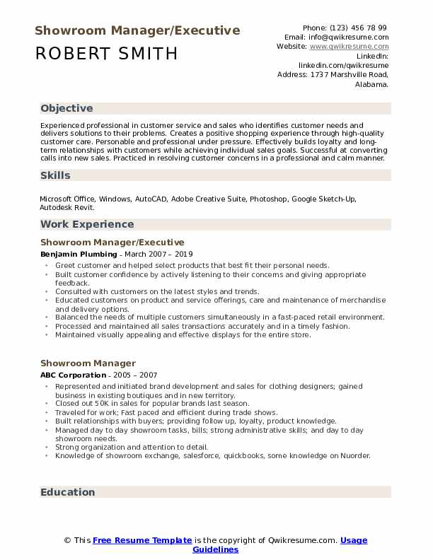 Showroom Manager/Executive Resume Template