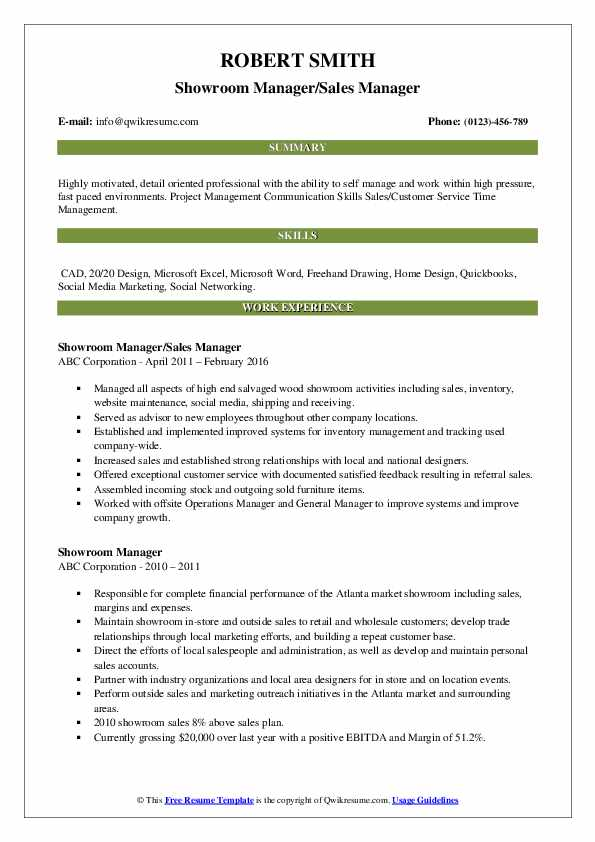 Showroom Manager/Sales Manager Resume Example