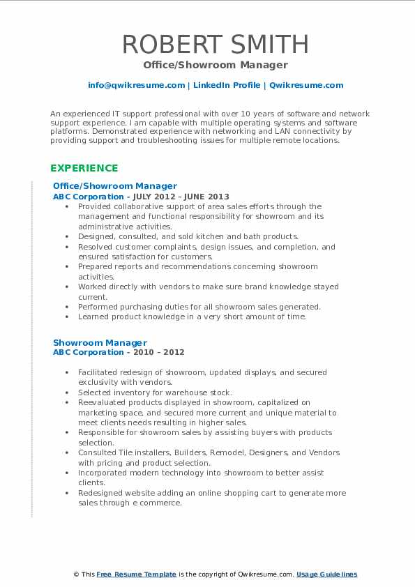 Office/Showroom Manager Resume Example