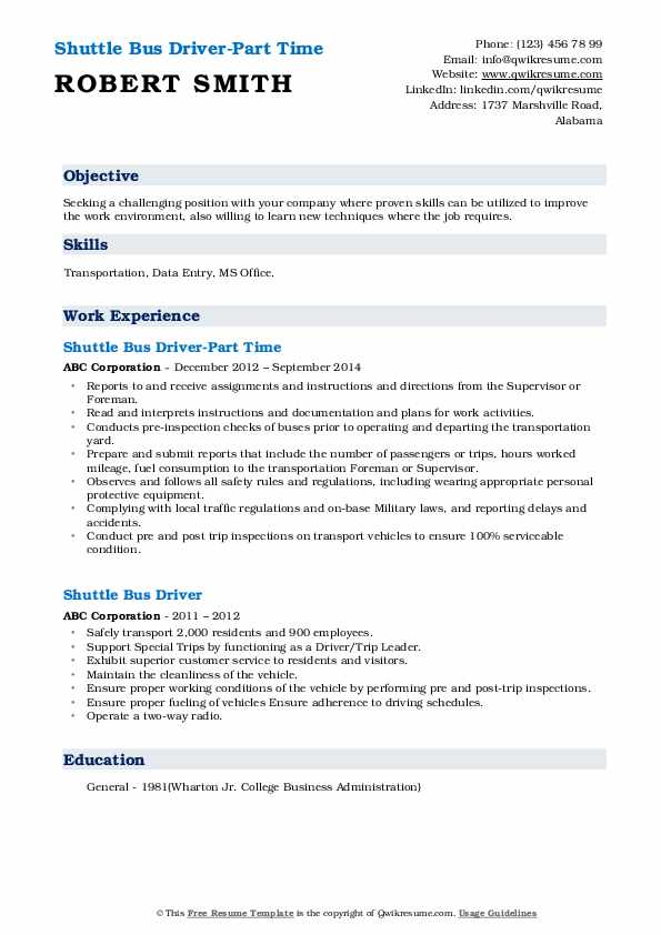 Shuttle Bus Driver-Part Time Resume Sample