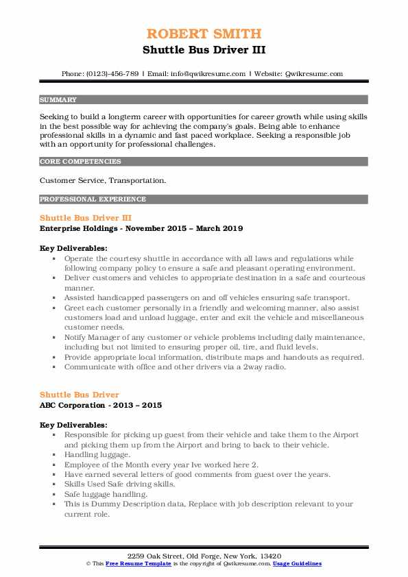 Shuttle Bus Driver III Resume Format