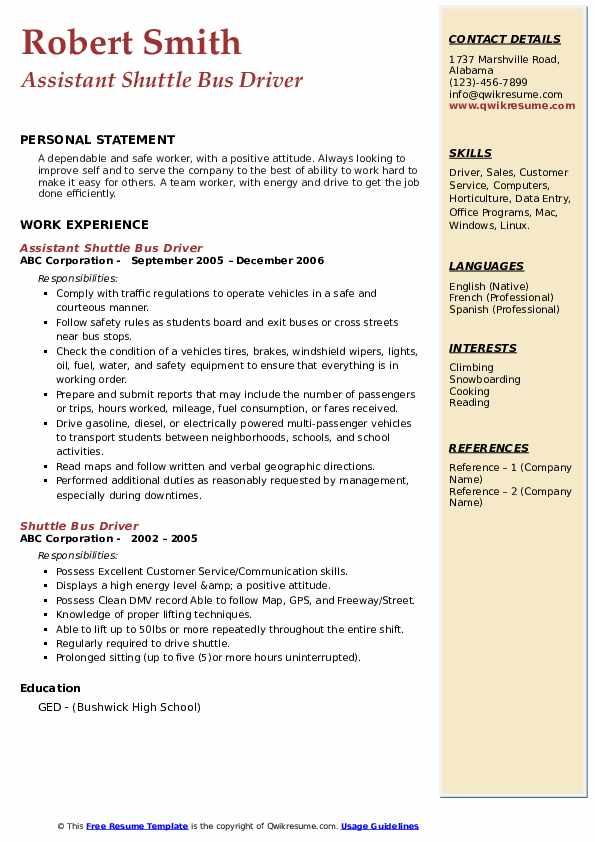 Assistant Shuttle Bus Driver Resume Template