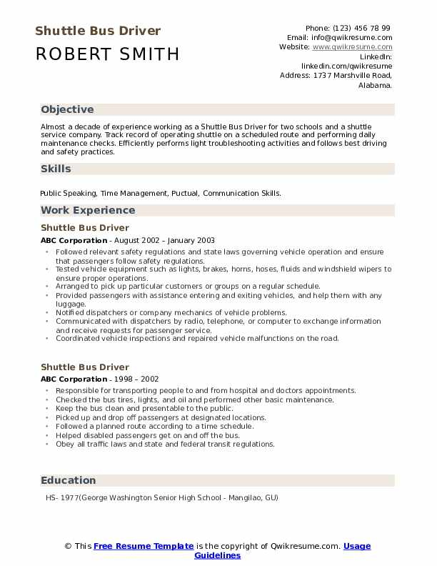 Shuttle Bus Driver Resume example