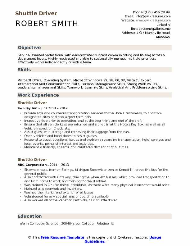 Shuttle Driver Resume Template