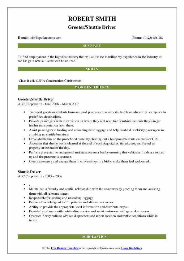 Greeter/Shuttle Driver Resume Example