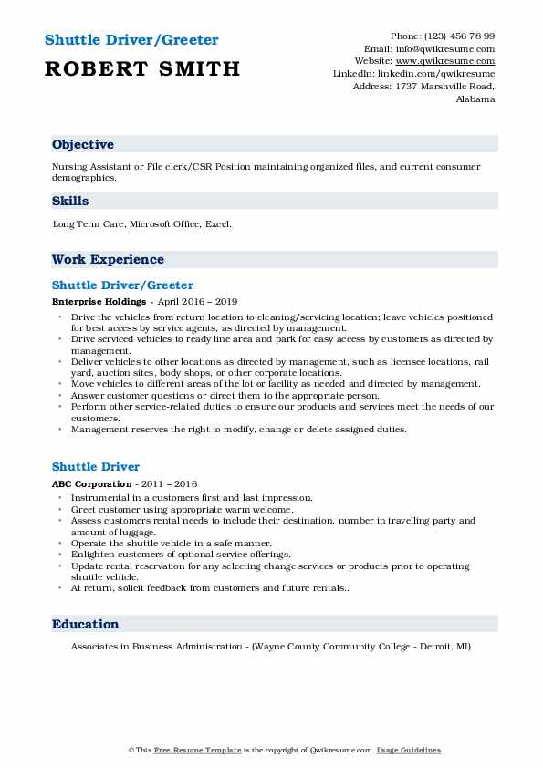 Shuttle Driver/Greeter Resume Model
