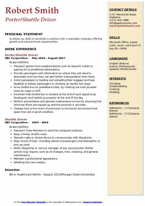 Porter/Shuttle Driver Resume Template