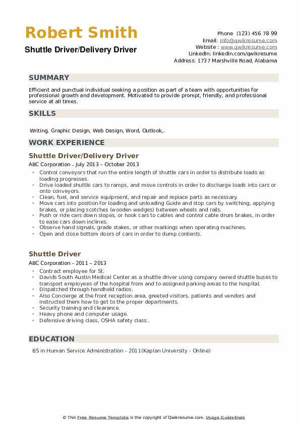 Shuttle Driver/Delivery Driver Resume Model