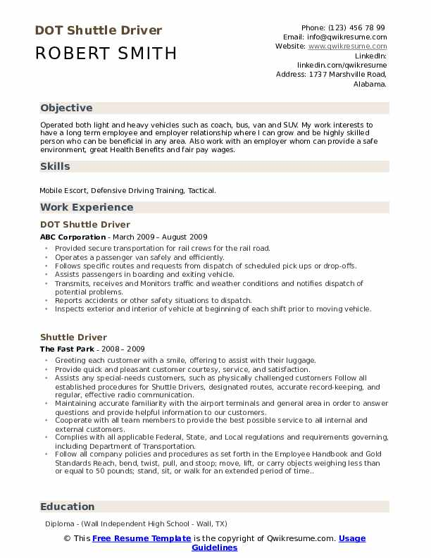 DOT Shuttle Driver Resume Model