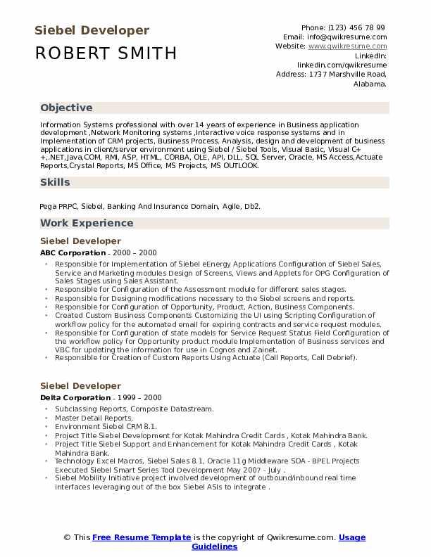 qa resume with siebel experience