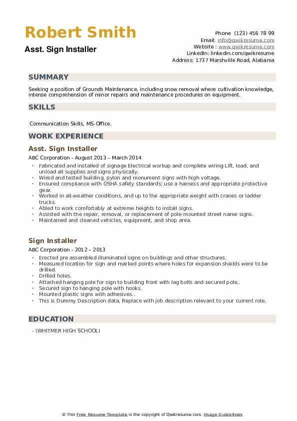 Sign Installer Resume example