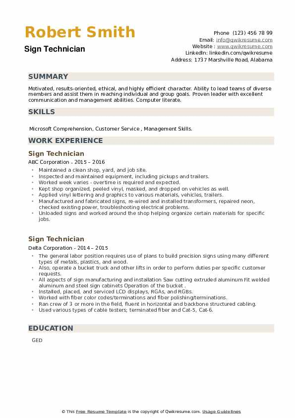 Sign Technician Resume example