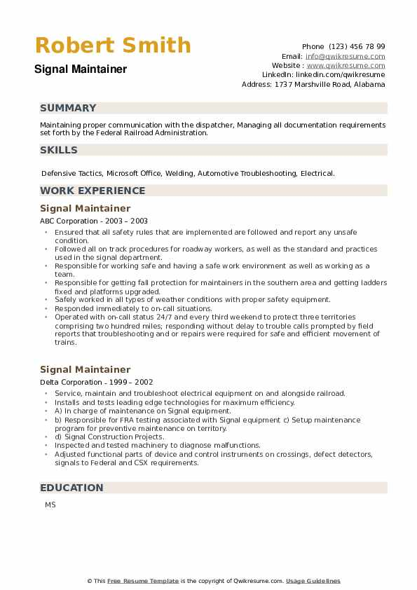 Signal Maintainer Resume example