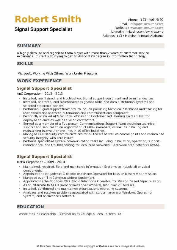 Signal Support Specialist Resume example