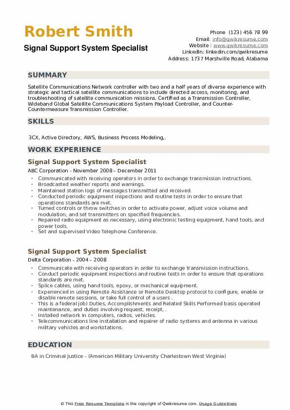 Signal Support System Specialist Resume example