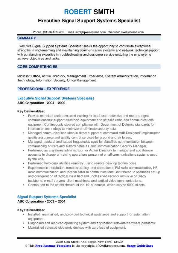 Executive Signal Support Systems Specialist Resume Template
