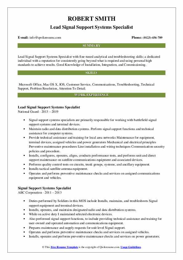 Lead Signal Support Systems Specialist Resume Example