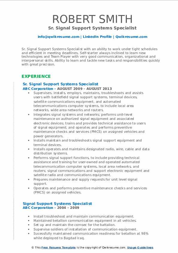 Sr. Signal Support Systems Specialist Resume Model