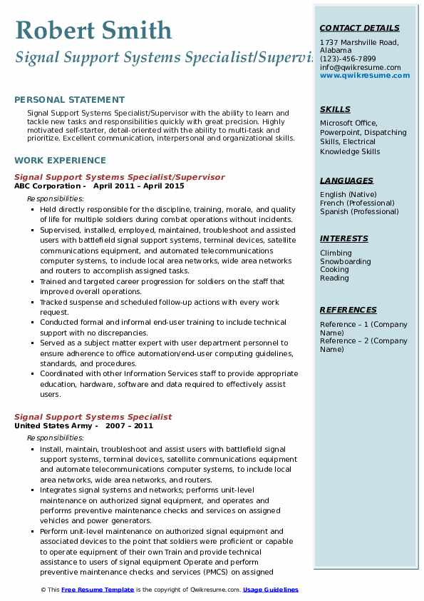 Signal Support Systems Specialist/Supervisor Resume Model