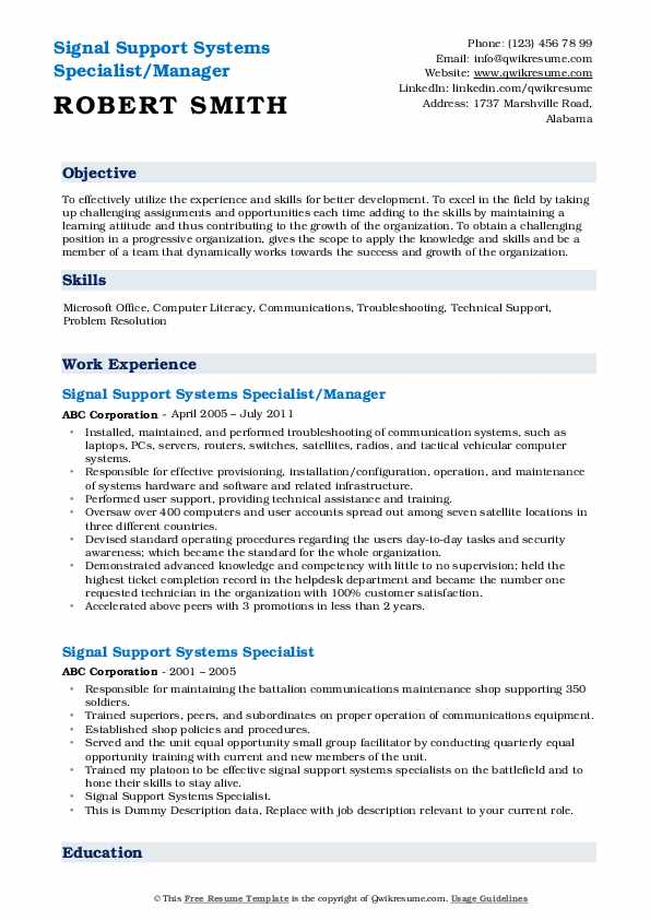 Signal Support Systems Specialist/Manager Resume Format