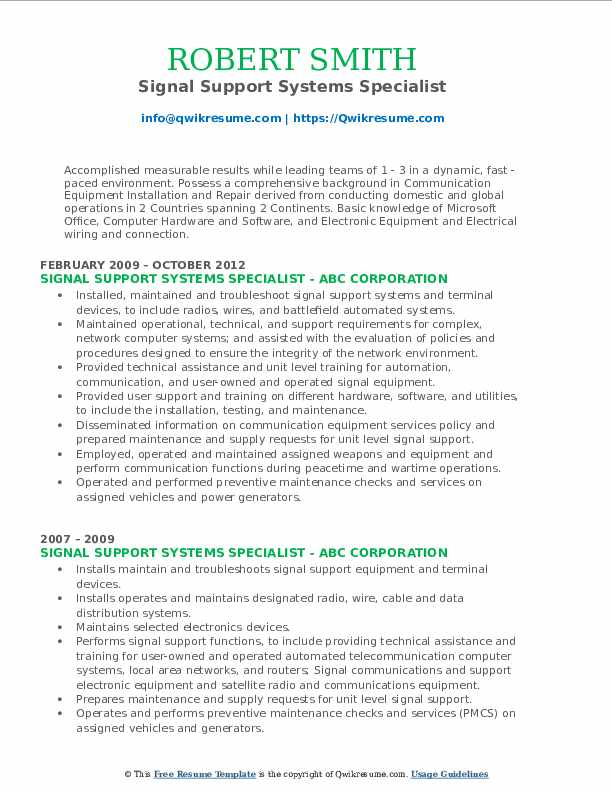 Signal Support Systems Specialist Resume Example