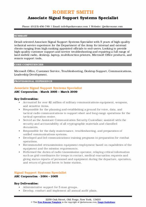 Associate Signal Support Systems Specialist Resume Format