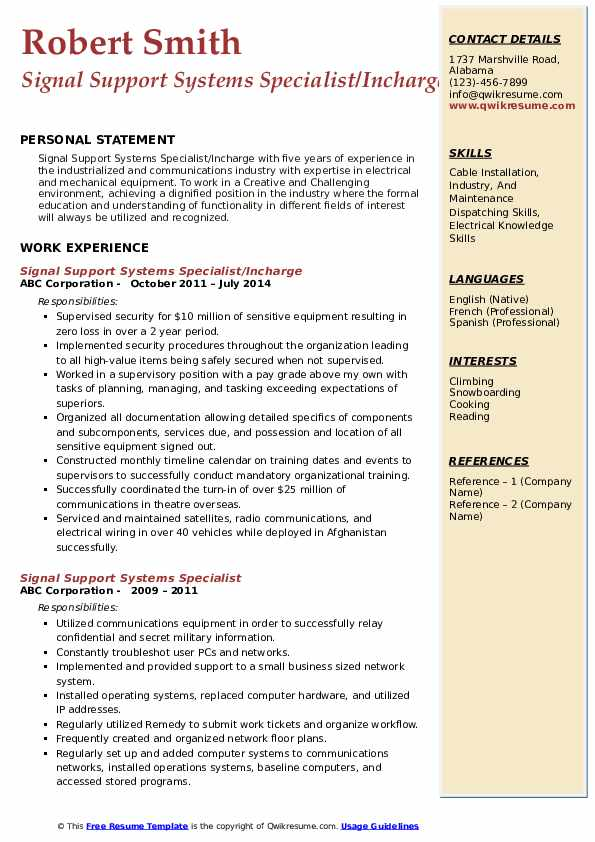 Signal Support Systems Specialist/Incharge Resume Sample