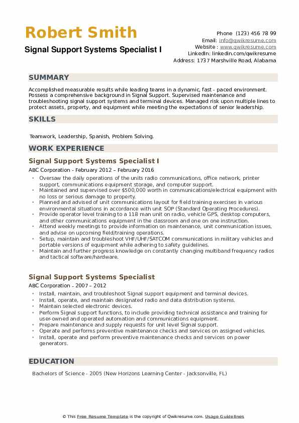 Signal Support Systems Specialist I Resume Template