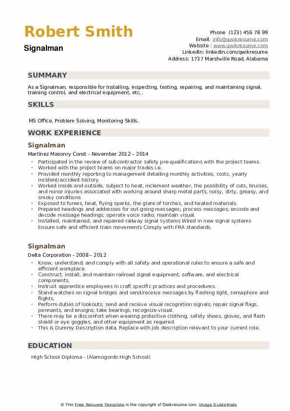 Signalman Resume example