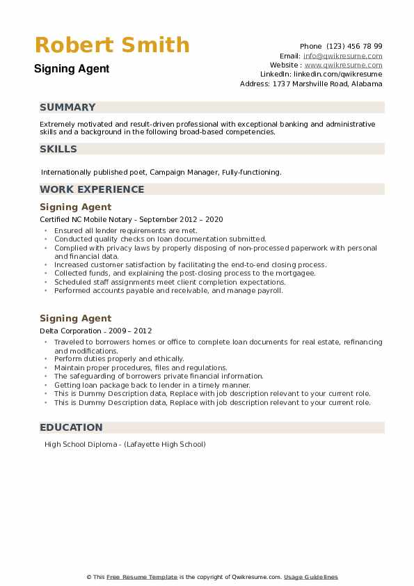 Signing Agent Resume example