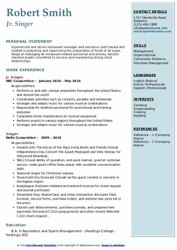 Resume templates for singers