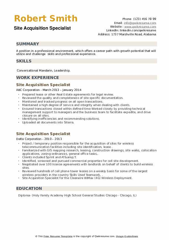 Site Acquisition Specialist Resume example