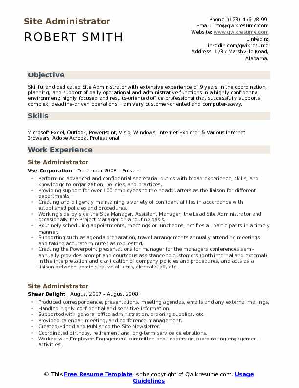Site Administrator Resume Sample