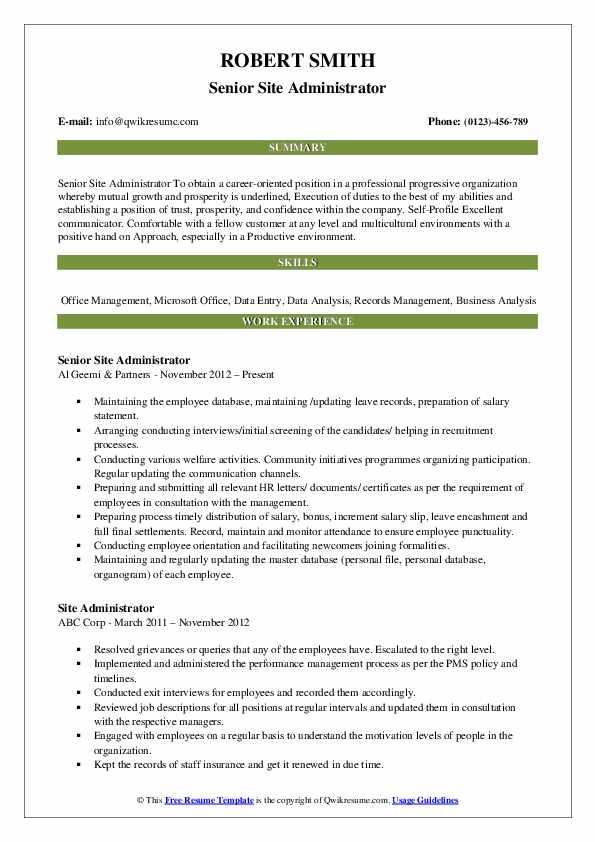Senior Site Administrator Resume Sample