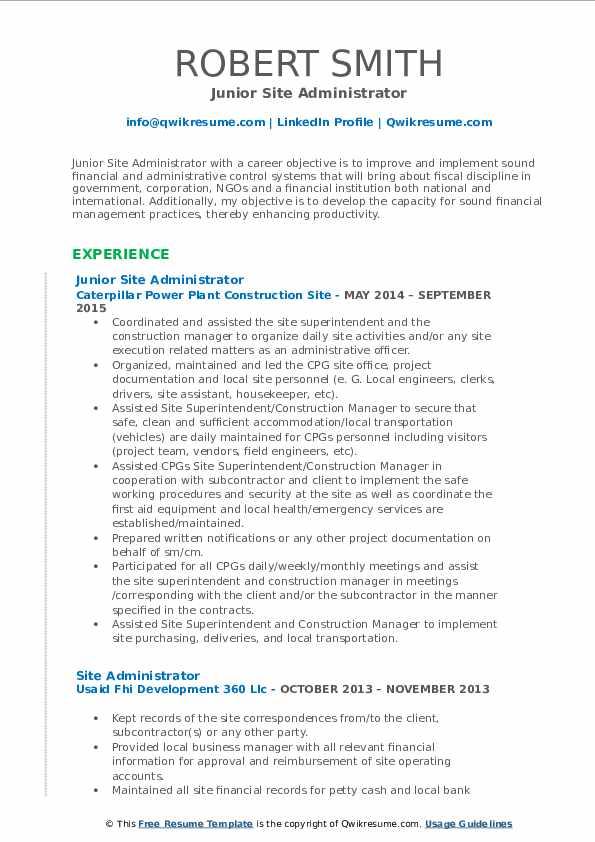 Junior Site Administrator Resume Format