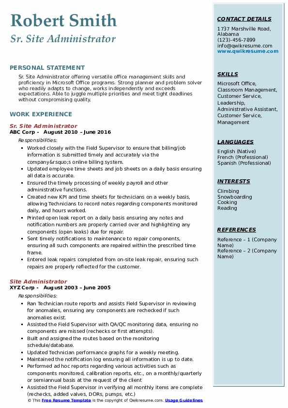 Sr. Site Administrator Resume Example