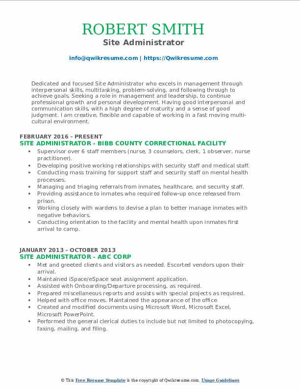 Site Administrator Resume Example